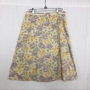 J Jill Midi Floral Skirt, Size 6, Yellow and Lilac
